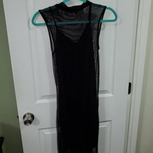 Black mini dress w/longer mesh overdress